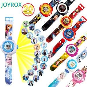 JOYROX الأميرة سبايدرمان الاطفال الساعات الإسقاط الكرتون نمط الرقمية ساعة أطفال للأولاد الفتيات LED عرض ساعة Relogio