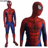 Movie Coser High Quality New Ultimate Spiderman Costume Adult 3D Comic Hero Red Spider Man Spandex