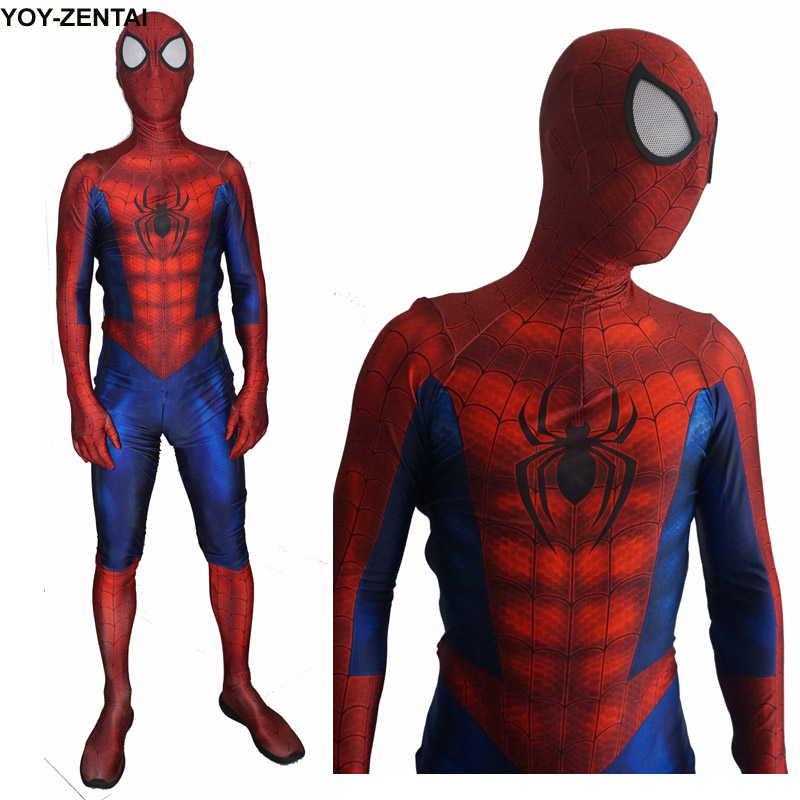 Movie Coser High Quality New Ultimate Spiderman Costume Adult 3D Comic Hero Red Spider Man Spandex Suit Spiderman Lycra Costume ultimate spider man ultimate collection book 4