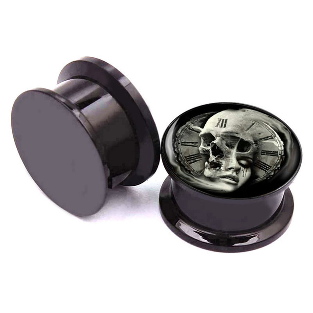 Pair of Skull and Women Roman Numerals Time Clock Logo Screw on Black Acrylic Ear Gauges Plugs. Sizes available are from 2g to 1""