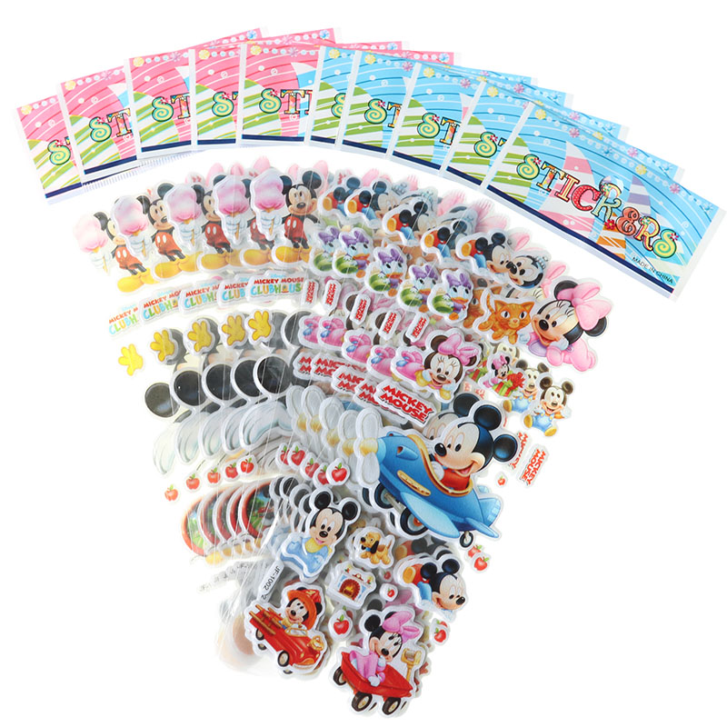 10pcs Children Stationery Sticker Cartoon Mickey Mouse Bubble Sticker Mobile Phone Notebook Scrapbook Gift Decoration Stickers