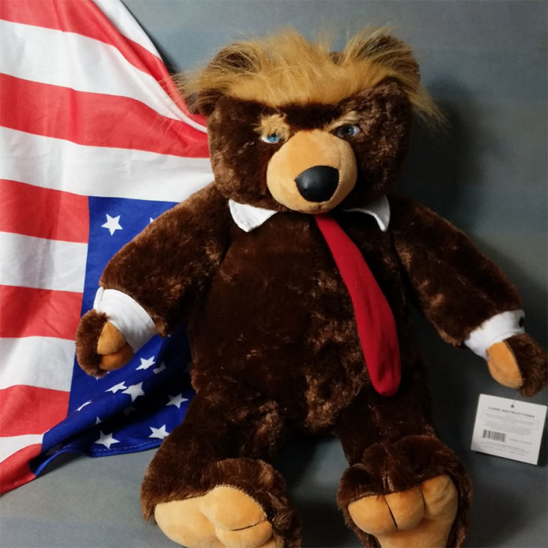 Tronzo 1Pcs 60cm Donald Trump Big Bear Plush Toys USA President Plush Bear With Flag Cloak Collection Doll Gift For Children Boy presidential donald trump doll shaking head toys car oranment toy for kids