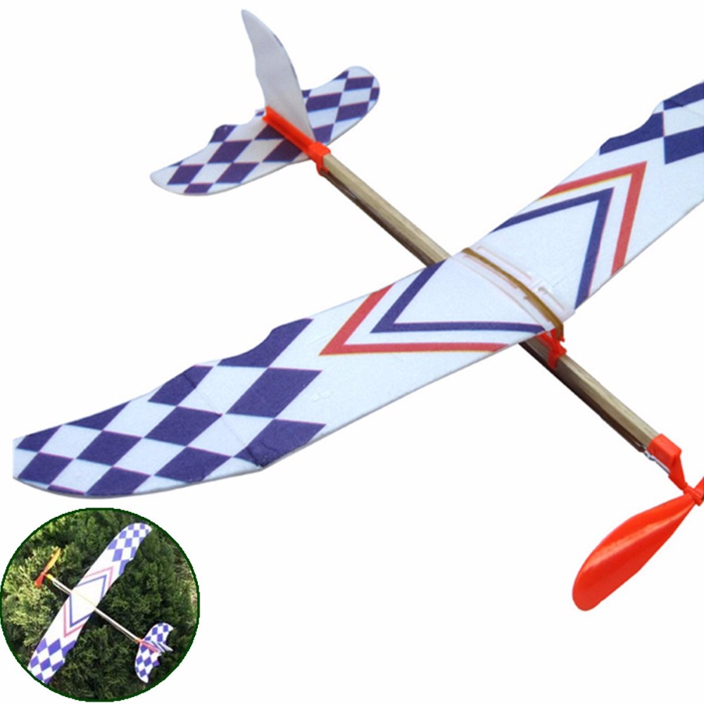 Elastic Rubber Band Powered DIY Foam Plane Model Kit Aircraft Early Educational Learning Development  Model Toy  For Kids