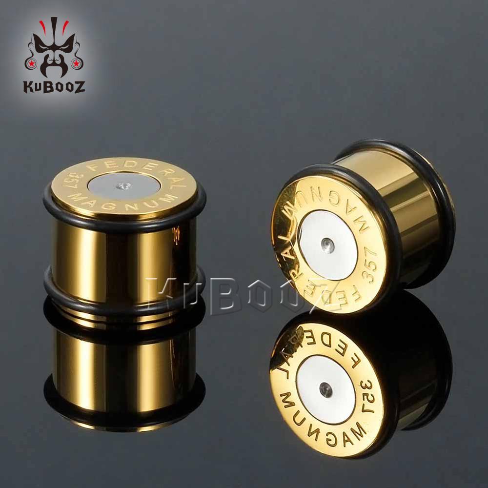 KUBOOZ bouchons de perçage d'oreille Tunnels étirés en acier inoxydable mode bijoux de corps extenseur jauges boucles d'oreilles 6mm 16mm 0G 00G 2 pièces
