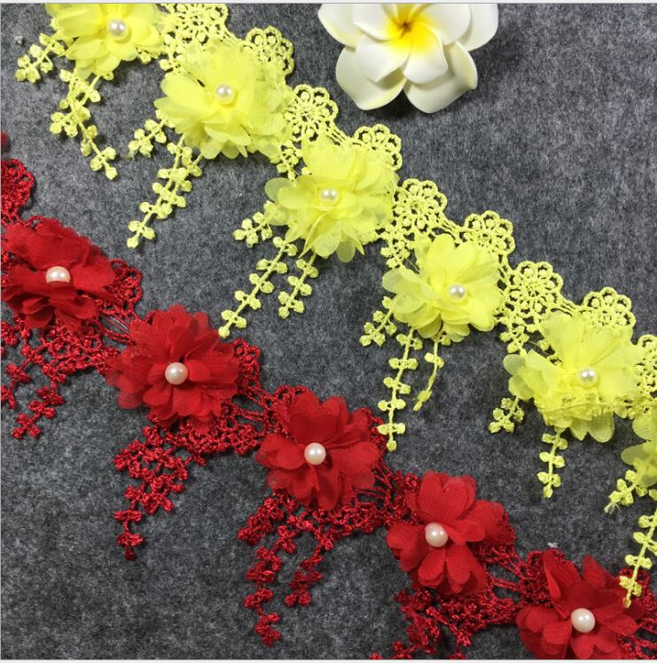 d3625d3ebdb55 US $16.81 35% OFF|15Yards White Red Pink Blue Yellow 3D Chiffon Rose Lace  Fabric Flower Pearl Wedding Fringe Lace Trim DIY Craft-in Lace from Home &  ...