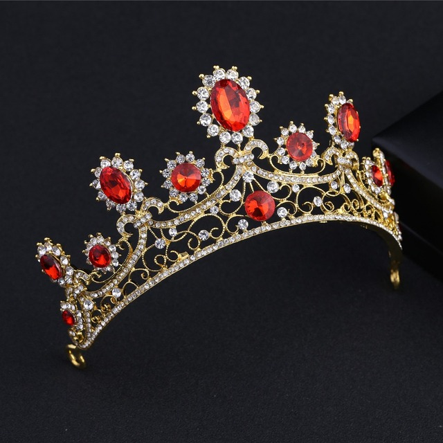 Vintage Gold Color Wedding Tiaras And Crowns Headband Hairband Bridal Rhinestone Red Crystal Pageant