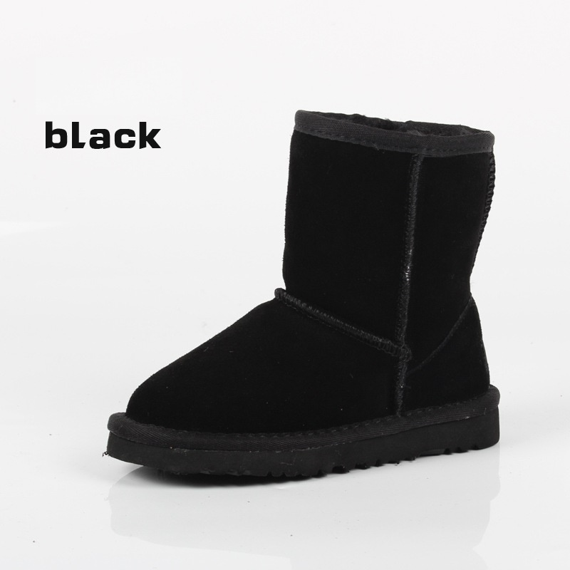 hot 2017 Winter new Children Snow Boots For Girls Boys UG Boots Genuine Leather Shoes Kids New Plush Boots With Fur Warm Boots babyfeet 2017 winter fashion warm plush high top genuine cow leather children ankle girls snow boots kids boys shoes sneakers