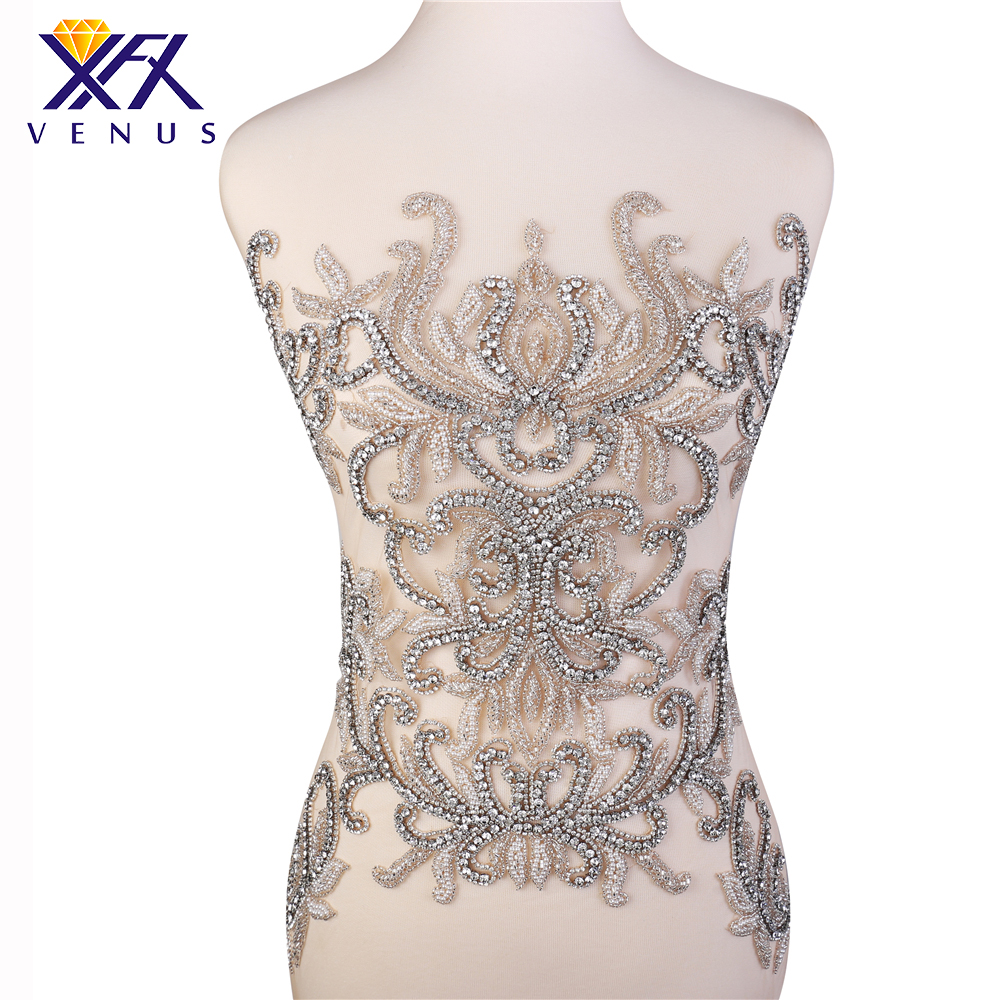 XINFANGXIU Handmade Applique Crystal Beads Patches Large Rhinestone Appliques Embroidery Sequin Patches For Dress Garments