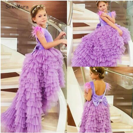 Fabulous Lavender   Flower     Girl     Dress   with Bow Beading Feathers Open Back High Low Tiered Princess   Dress   Custom Made