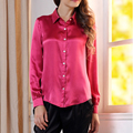 Women's all-match black silk shirt female long-sleeve shirt satin silk satin spring and autumn top formal plus size top