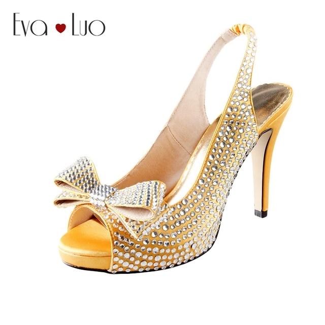CHS779 Custom Handmade Bow Gold Slingbacks High Heels Women Shoes Dress  Sandals Bridal Wedding Shoes Prom Shoes Big Size 21be0c3a0a8d