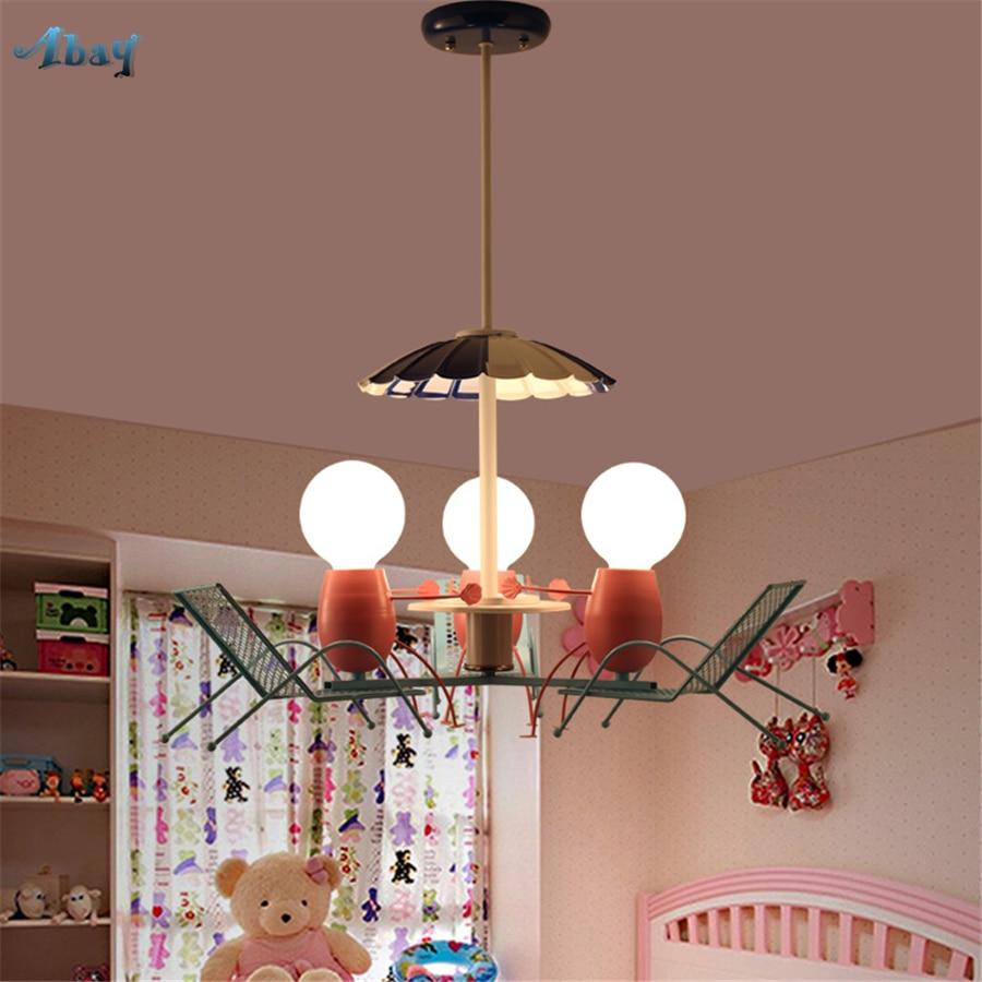 Creative Cute Beach Chair Pendant Lights for Living Room Children Bedroom Study Modern Design Lamp Kids Room Light Fixture E27