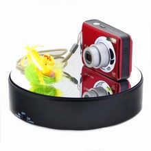 Glass mirror reflective 360 electric rotating display stand for camera phone watch jewelry display stand 2 speed +5kg load
