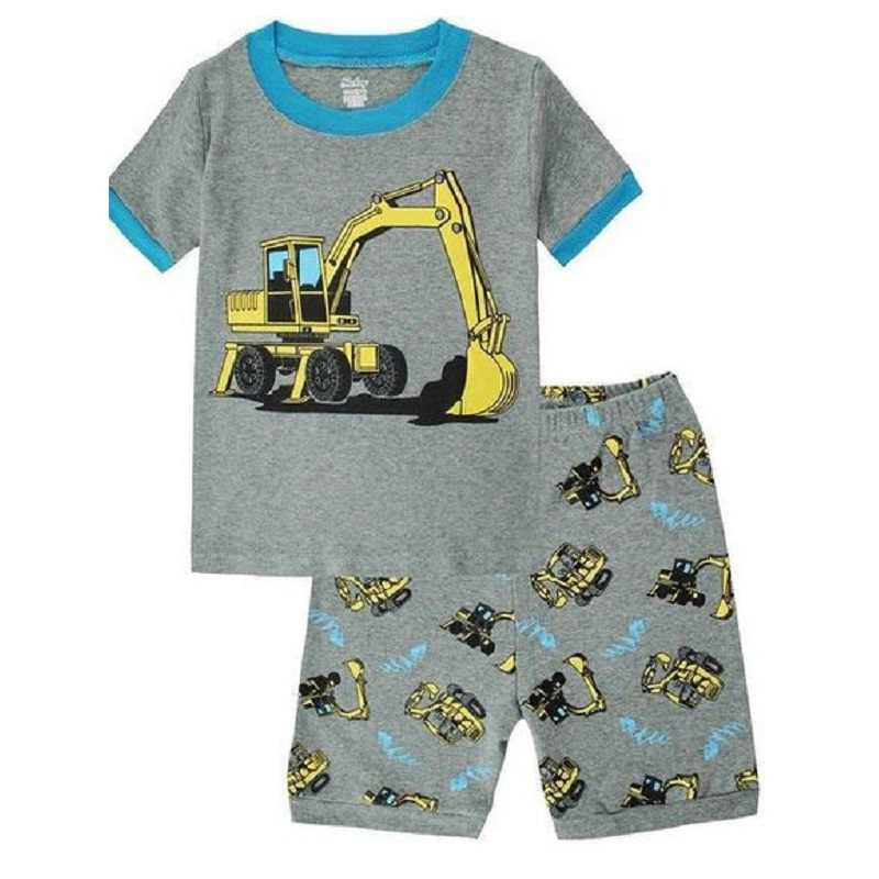 Excavator Children Pajamas Boy Clothes Suits 2019 Summer Short Sleeve Cotton Baby T-Shirts Short Pants PJS Kids Sleepwear 2-7Y