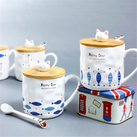 Cute Mug With Cat And Fish Pattern Ceramic Coffee Mug With Spoon And Cover Especial Coffee Cup With Hand Grip Good Gift