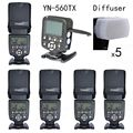 Yongnuo yn560tx lcd controlador + 5 pcs kit iv flash yn560 flash sem fio para canon