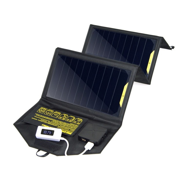 Outdoor 5V 20W Dual USB Foldable Solar Panel Power Bank Camping Charger Pack for cellphones for Digital Camera GPS