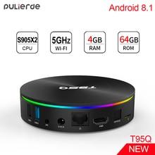 PULIERDE T95Q Amlogic S905X2 4 GB 64 GB Smart Android 8,1 ТВ коробка Bluetooth4.0 H2.65 4 K 2,4 GHz/5 ГГц WI-FI телеприставки Media Player