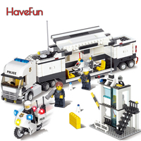 fe04f8758 HaveFun Toys Minecraft Police Station Modle Building Blocks DIY Bricks Set  Educational Toys For Children Compatible