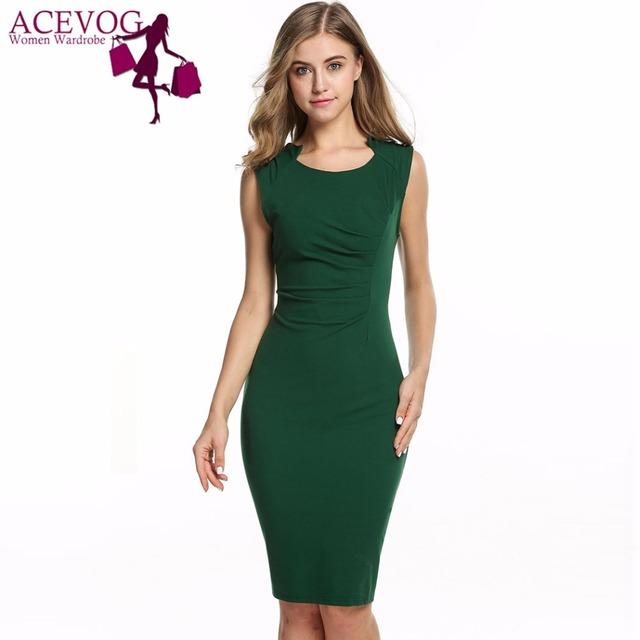 ACEVOG Women Sexy Vestidos 2017 Summer Casual Elegant Dresses Cap Sleeve Pleated Solid Slim Pencil Office Lady Dress