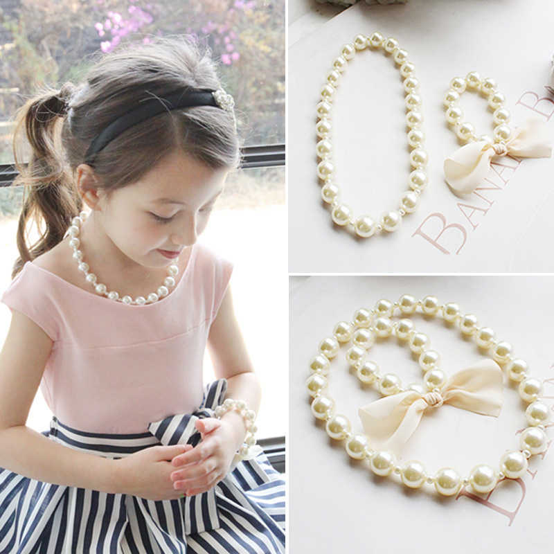New Fashion Kids Romantic Pearl Jewelry Set for Children Simulated Bead Necklace Bracelet Little Girl's Toy Birthday Party Gifts