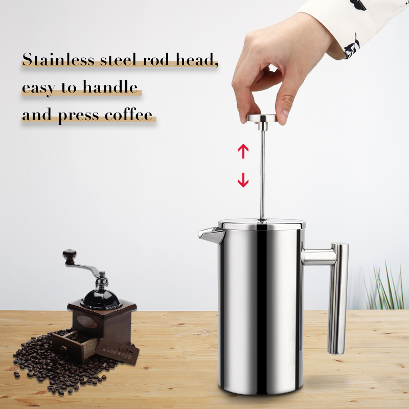 Image 3 - Coffee Maker French Press Stainless Steel Espresso Coffee Machine High Quality Double Wall Insulated Coffee Tea Maker Pot 1000mlCoffee Pots   -