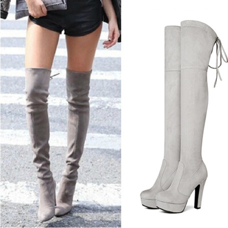 NEMAONE Plus size 34-43 new fashion platform over the knee boots high heels round toe thigh high boots spring autumn women boots nemaone plus size hot spring autumn women boots sexy high heel over the knee soft pu leather black white fashion high boots