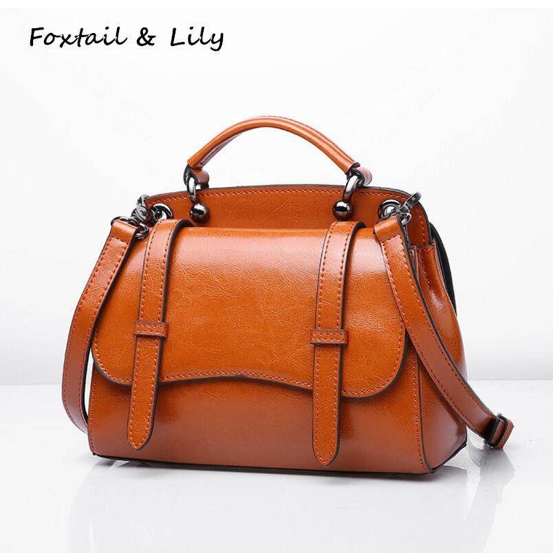 Foxtail & Lily Vintage Small Shoulder Bags Genuine Leather Ladies Tote Handbags Women Messenger Crossbody Bag Luxury Quality 2016 women messenger bags leather shoulder bag ladies handbags small crossbody purse satchel bolsas fashion tote bags