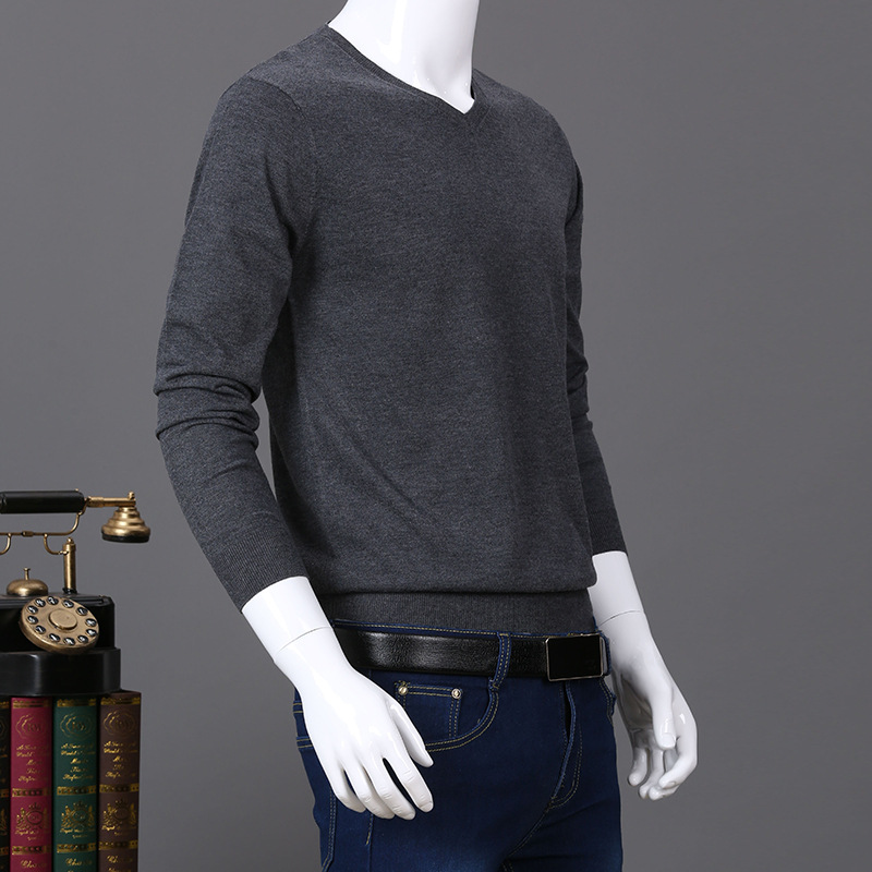 Uwback 2017 Winter Men Sweaters V-Neck Long Sleeve Solid Wool Sweater Fit Casual Pullovers Homme Plus Size 3XL Thin Tops XA333