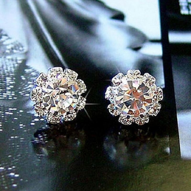 New FASHION Spherical Crystal Flower Stud Earrings For Women earings fashion jewelry
