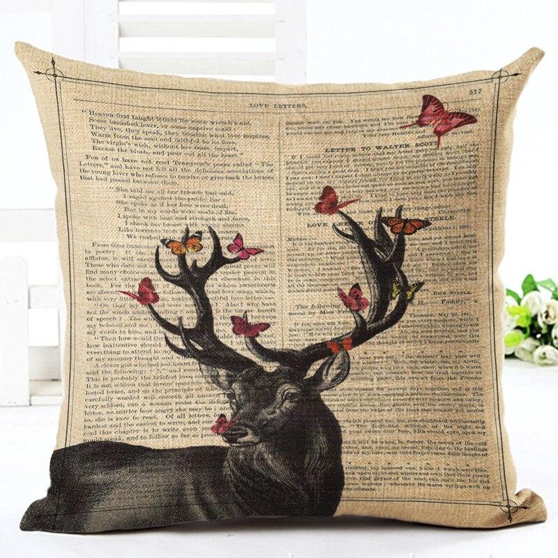 Cute Bird Elk Butterfly Cushion C Linen Cotton Pillow Sofa Cushion Decorative Pillow /Throw Pillow