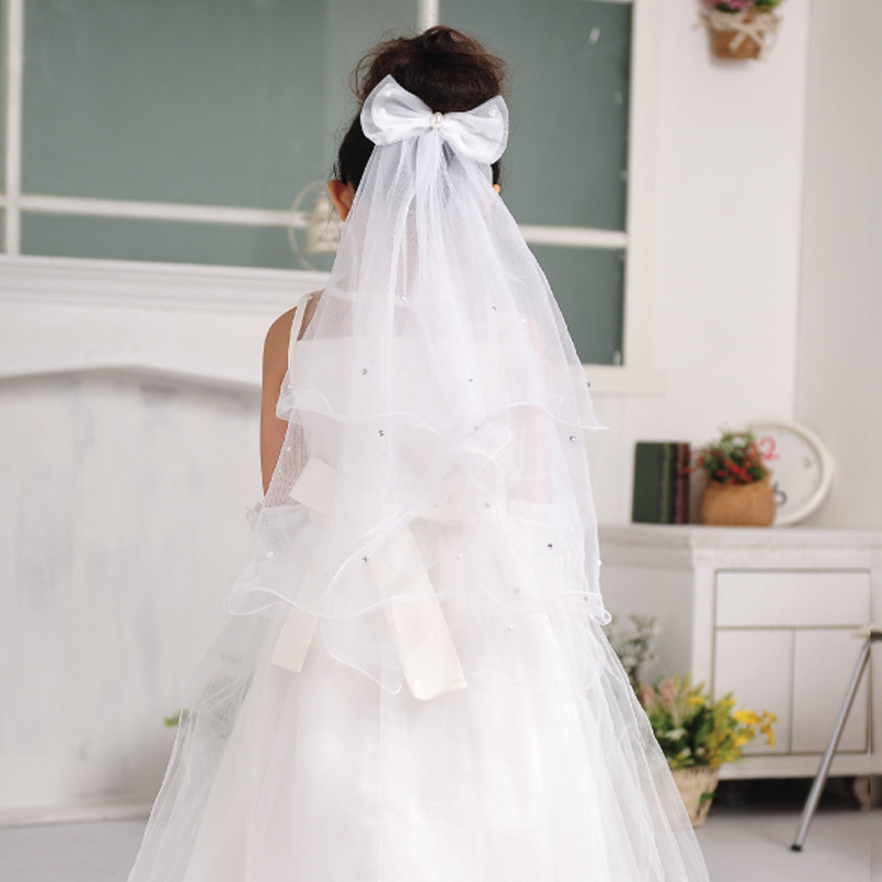 2017 Fashion Girls Wedding Dress Veil Children S Outstanding White Bow Headdress Hair Accessories
