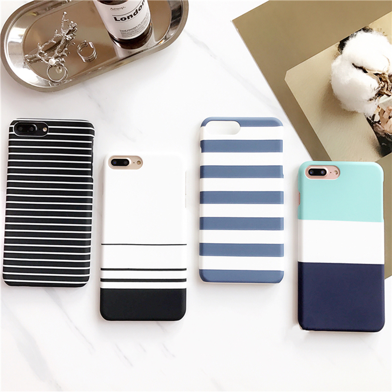 Coque for iPhone 8 7 6 Plus Case White/Black/Blue Stripes Hard PC Cover for iPhone 7 Plus Case Capa for iPhone X 6s 6splus