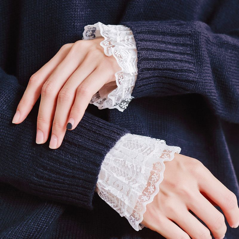 2Pcs/Pair Women Girls Decorative Chiffon Fake Flare Sleeves Floral Lace Pleated Ruched False Cuffs Apparel Wrist Warmers With F