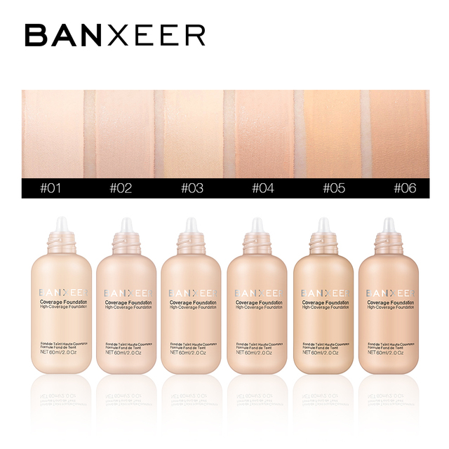 BANXEER Foundation 60ml Matte Long Lasting Full Concealer Foundation Makeup Liquid Cream Natural Base Make Up 4