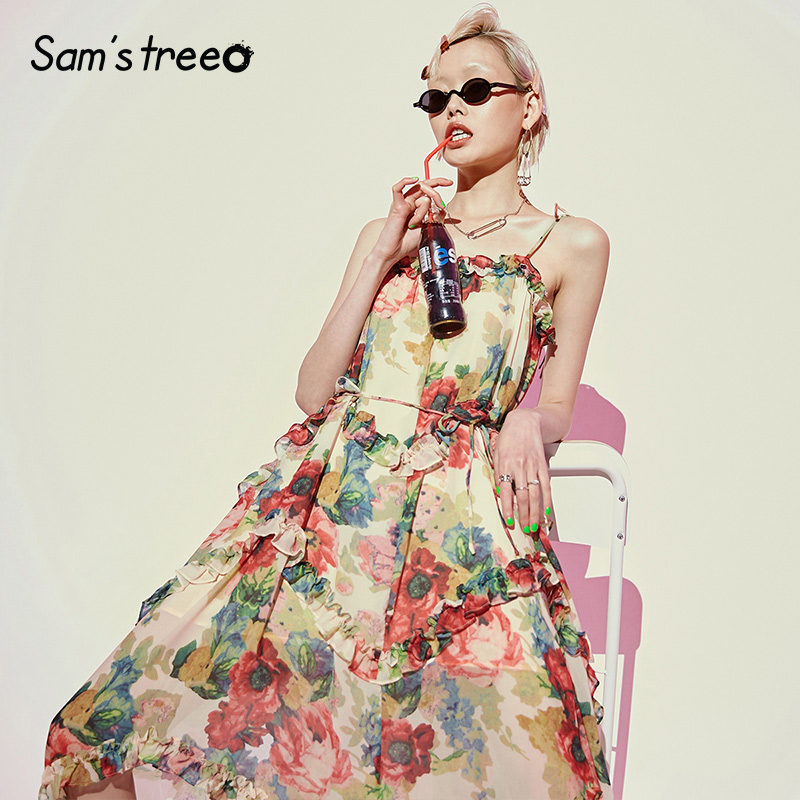 Samstree Vintage Off Shoulder Strap Women Dresses Elegant Floral Print Female Party Dress 2019 Summer Fashion