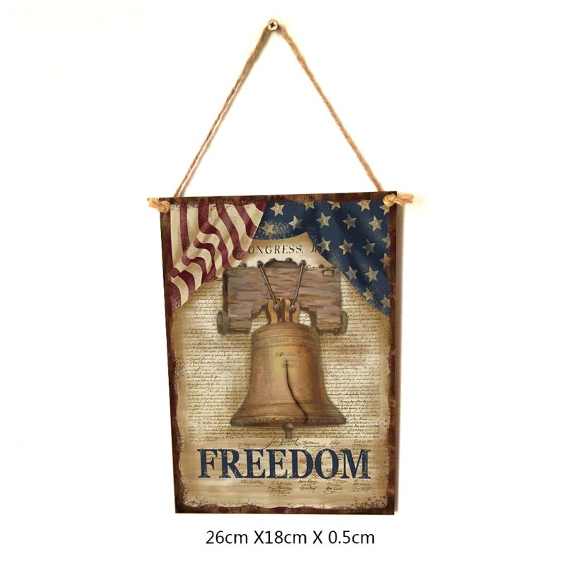 Image 5 - Vintage Wooden Hanging Plaque Freedom Sign Board Wall Door Home Decor Independence Day Party Gift-in Plaques & Signs from Home & Garden