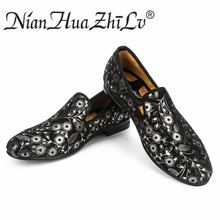 New fashion super fabric print men loafers handmade luxurious brand party and wedding shoes for