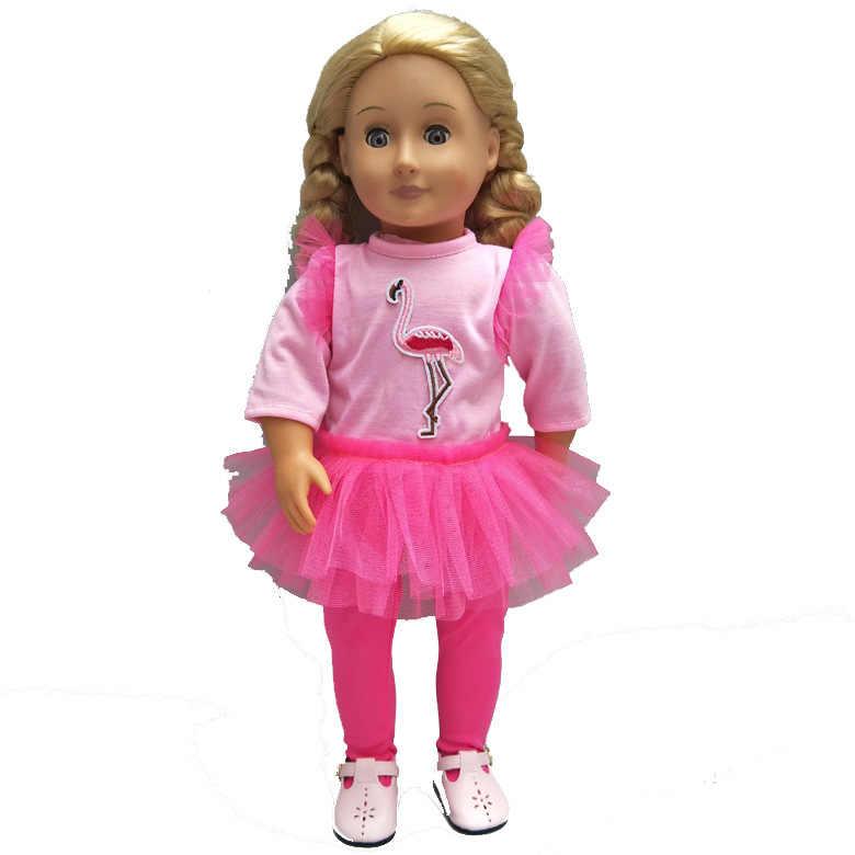 Куклы Фламинго кружевная Пряжа юбка со шляпой обувь подходит для 43 см Кукла Детская одежда 18 дюймов Кукла аксессуары