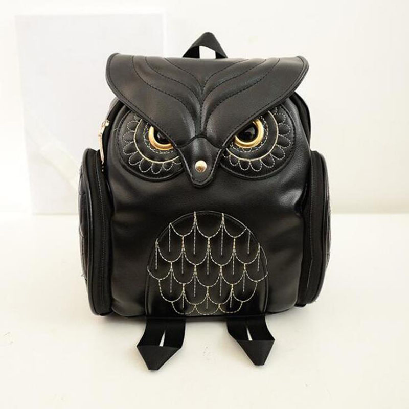 Women Backpack 2016 Newest Stylish Cool Pu Leather Owl Backpack Female Women Bag Mujer Mochila Escolar Feminina School Bag Ll09