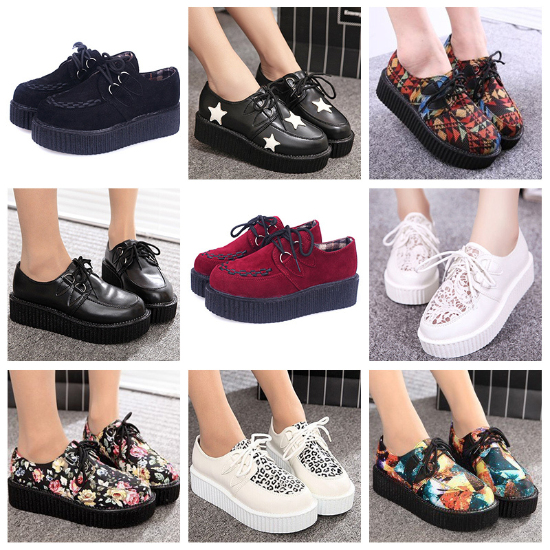 1a07bf01b0ca Casual shoes woman 2018 fashion sneakers women creepers platform shoes  tenis feminino lace up tound toe ballet flats shoes-in Women s Vulcanize  Shoes from ...