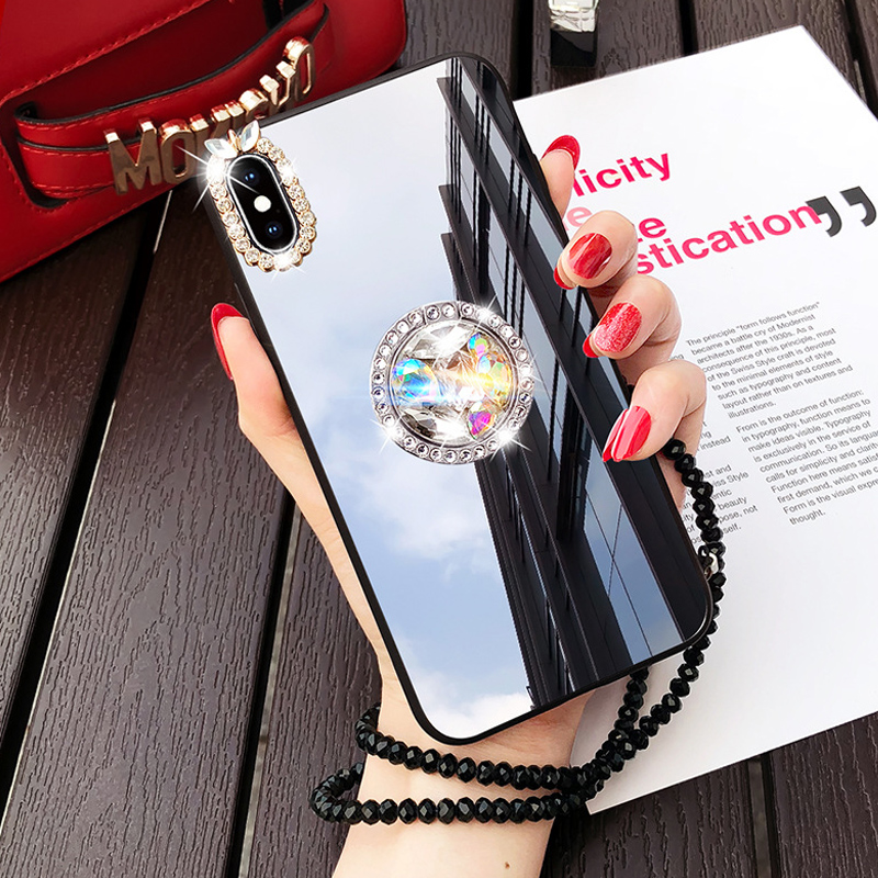Frauen Spiegel Strass Make-Up Fall Für <font><b>Samsung</b></font> Galaxy S10 5G S10E S9 S8 Plus <font><b>S7</b></font> Hinweis 8 9 10 plus Fall Diamant Finger Ring Strap image
