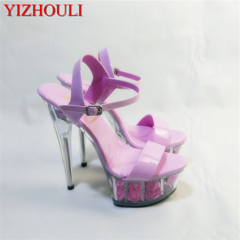 High Heel Wedding Shoes Skillful Manufacture Pole Dance Shoes Frugal Elegant Ankle Strap Sweet Pink Flower Sole Design 15cm High Heel Shoes Sandals