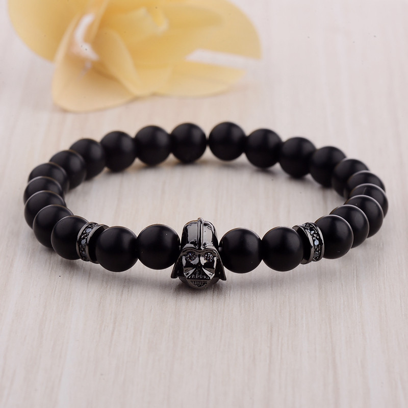 DOUVEI 17 New Charm Mens Star Wars Darth Vader CZ Beaded Bracelets 8mm Bright Black Lava Stone AB1012 10