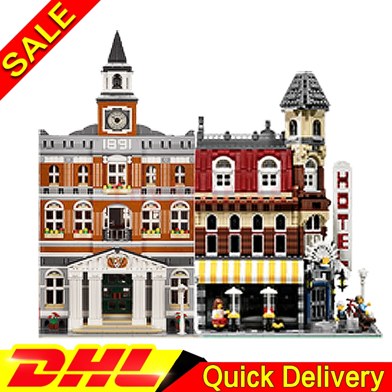 Lepin 15002 Cafe Corner + Lepin 15003 town hall City Street Model Building Blocks Bricks Kits legoings Toys Clone 10224 10182 lepin 15003 town hall lepin 15009 pet shop supermarket city street model building blocks bricks lgoings toys clone 10224 10218