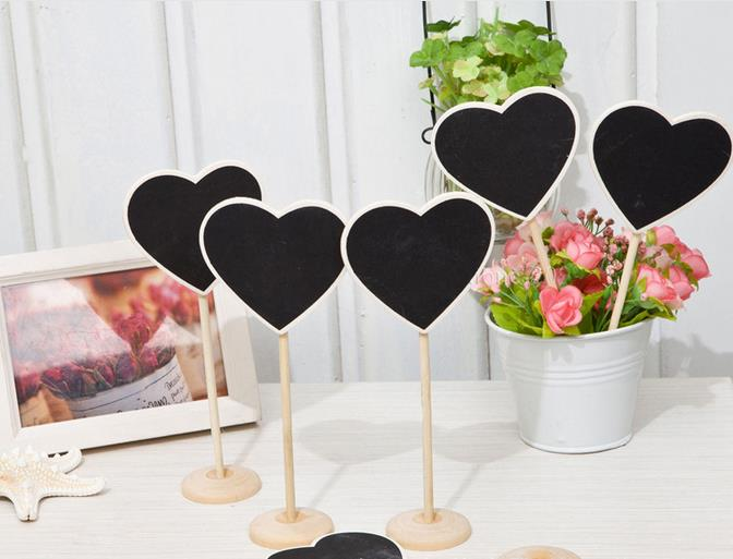 24pcs wooden Chalkboard Blackboard On Stick Stand Place Card Holder Table Number fordecoracion vintage rustic wedding decoration