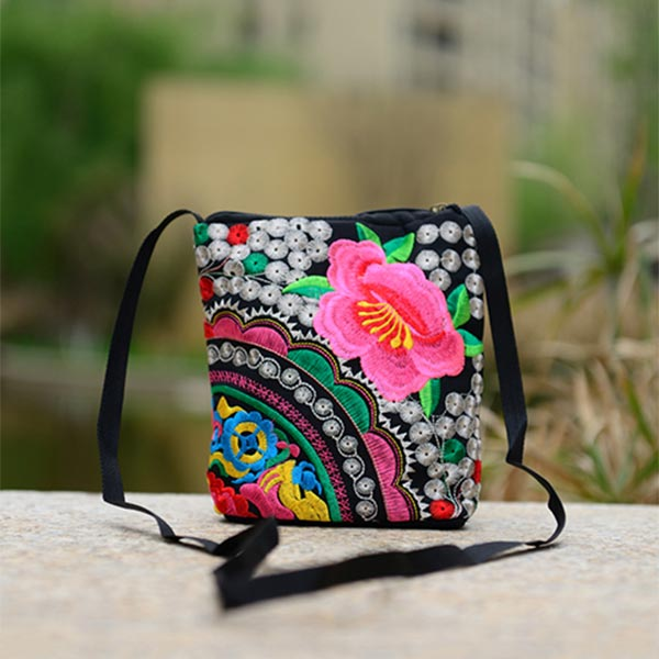 a9d5b15868 Material  Canvas+Silk Thread Lining  Polyester Feature  Double-sided  embroidery. Style Handbag