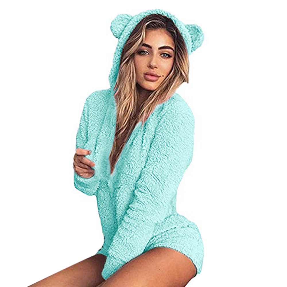 Home Delicious Women Winter Fall Velutum Nighty Soft Cute Long-sleeved Plush Jumpsuit Sweety Lovely Pajamas Comfortable Kawaii Hooded Clothes