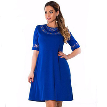 2016 fashion summer dresses new spring and summer in Europe short sleeve lace plus size 6XL sexy big fat MM women's dress 6962