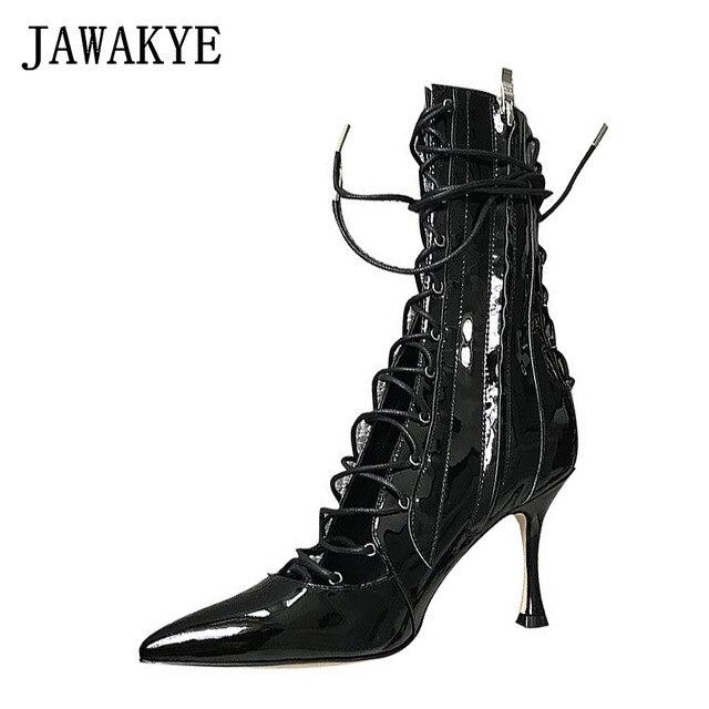 JAWAKYE designer 8 cm high heels gladiator sandals shoes woman party wedding stiletto lace up sheep